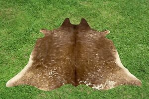 Small Cowhide Rugs Brown Real Hair on Cow Calf Hide Skin Accent Rug 5 x 4 ft