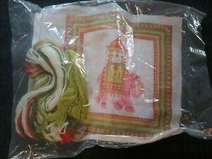 "Vintage Needlepoint Pillow Kit ""Rajah Elephant"" 14"" square 1976"