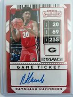 2020 Panini Contenders Rayshaun Hammonds 110 Rookie RC AUTO Red Foil Game Ticket