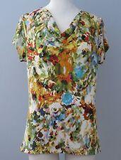 LIZ CLAIBORNE Size M Multi-Color Floral Short Sleeves Cowl Neck Blouse
