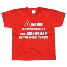 Shakespeare Kids Children's Kid's T-Shirt Language English Theatre Play Gift