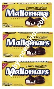 3 Boxes Of Nabisco Mallomars pure chocolate Cookies 8 oz Each