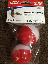 """FISHING BOBBERS, RED & WHITE, 2 PK.,1-1/2"""" ROUND, Snap-On Floats EAGLE CLAW"""