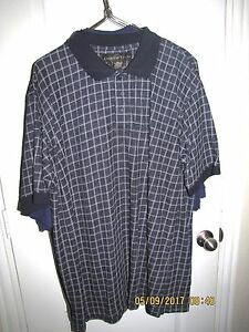 ANDREW FEZZA CASUAL GOLF SHIRT BIG MAN SIZE 2XL BLUE CHECKED SHORT SLEEVE