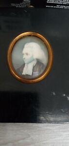 18TH  PORTRAIT MINIATURE  OIL PAINTING OF  GENTLEMAN  SIGNED AND DATED 1776