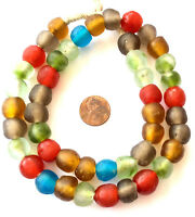 Mixed Ghana Round Krobo Recycled Glass African trade beads