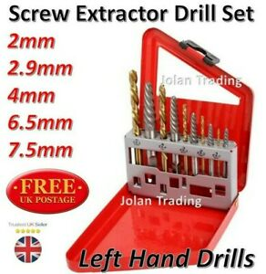 Screw Bolt Stud Extractor Drill Set Left Hand Drills Remove Rusted Corroded 5273