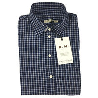 RM Williams Womens Olivia Shirt Blue Check Long Sleeve Button Front Size 10 NEW