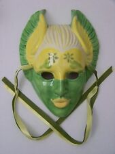Ceramic Clay Wall Mask, Winged Feline Face with Wings, Wall Hanging