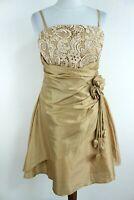 AMELIA COLLECTION BNWT Gold Sleeveless Women Fit & Flare Dress Size 12 EU M