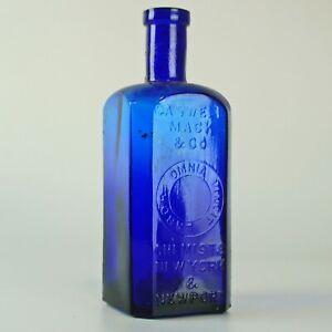 Antique Caswell Mack & Co. Chemists New York & Newport Cobalt Square Bottle