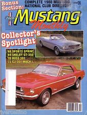 Vintage MUSTANG MONTHLY October 1988 68 Sport Sprint 69 Shelby GT350 CJ-351 Mach