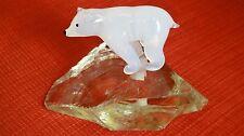 RARE VTG SOUVENIR ZOO DE PARIS MINIATURE GLASS ANIMALS POLAR BEAR ON ICEBERG