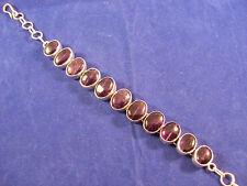 "9.25 Silver Bracelet With Amethyst Stones 15.9 Grams 7.5"" Long In Display Box"