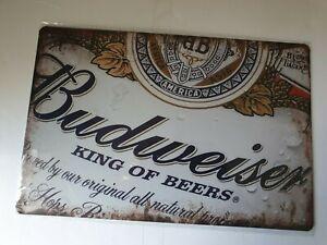 Budweiser Label Metal Sign Plaque Man Cave Beer Retro Pub Bar Garage Shed