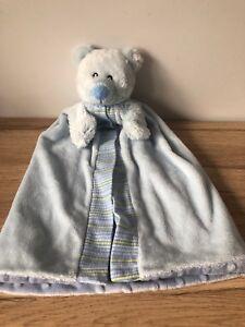 RUSS BERRIE BABY - BLUE TEDDY BEAR BLANKET / COMFORTER - PUPPET - SOFT TOY - VGC