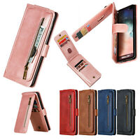 Leather Zipper Wallet Stand Case Cover For Samsung Galaxy Note 10 Plus/S10/S9/S8