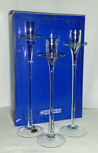 New . Set of 3 Elegant Hand Blown Crystal Taper / Dinner Candle Sticks / Holders