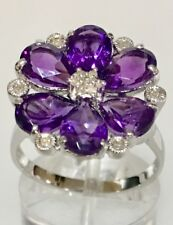 14K Genuine 3.94CT Amethyst and Diamond White Gold Cluster Flower Ring Size 7.25