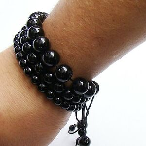 3 Men's Macrame Beaded Bracelets Black Agate 6mm 8mm 10mm beads
