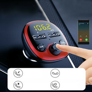 Bluetooth 5.0  Car Wireless FM Transmitter Adapter 2 USB Charger AUX Hands-Free