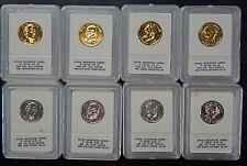 {BJSTAMPS}  2008 President Dollar Set 8 in Plastic Cases 4/24k Gold 4/Silver