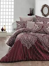 Bettwäsche 200x220 cm Bettgarnitur Bettbezug Baumwolle Kissen 4 tlg LALE BORDO