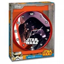 "STAR WARS DARTH VADER CHILDRENS CHARACTER 10"" WALL CLOCK KIDS BEDROOM BOYS RED"