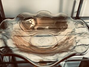 Antique Ruffled CARNIVAL GLASS BOWL Tangerine Pearlescent Truly Gorgeous