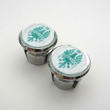 Vintage Style 'Bianchi' Chrome Racing Bar Plugs, Caps, Repro