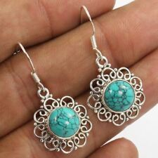 "35mm 1 3/8"" Pure 925 Sterling Silver Superb Earrings Natural TURQUOISE (S) Gems"