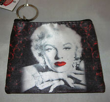 Marilyn Monroe Coin Purse Red Lips Black White Key Ring New