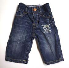 Baby Gap VGUC 0-3M Boy Denim Pirate Skull Print Elastic Waist Loose Blue Jeans