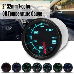 "2"" 52mm Car 7 Color LED Oil Temperature Temp Gauge Meter w/ 1/8 NPT Sensor 12V"