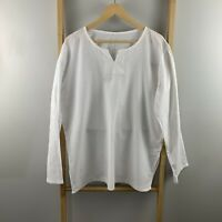 Soft White Cotton Linen Beach Kaftan Shirt Size XXL (12 - 14?) Beach Top