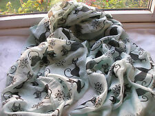 E697 Mint Green with Black Cats Lightweight Ladies Scarf Pashmina