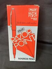 Vintage Pilot Razor Point Pens Sw 10pp Red Marker Pens 9 Pens In Original Box