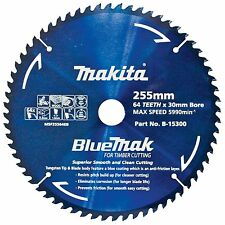 Makita BLUEMAK MITRE SAW BLADE 255mm Anti-Friction Coating 64 Teeth Wood Cutting