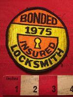 Vintage 1975 LOCKSMITH Embroidered Patch BONDED INSURED. Key Keyhole Logo 60WB