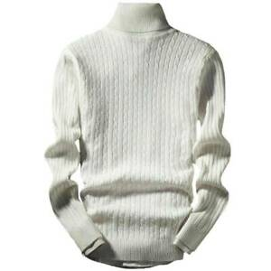 Mens Turtleneck Pullover Long Sleeve Jumper Winter Warm Casual Sweater Knit Top