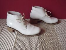 LOW BOOTS BOTTINES ANDRE CUIR VERNI BLANC POINTURE 37