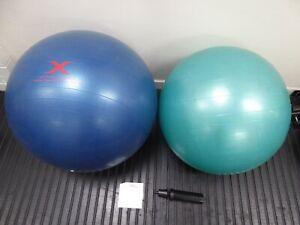 2 x Gym Swiss Balls 65cm & 55cm with Reebok DVD & Pump