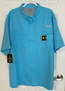 Realtree Mens Fishing Shirt Size 2XL XXL Blue Short Sleeve Vented UPF Protection