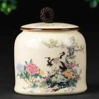 Painted Tea Caddy Porcelain Storage Jar Candy Box Spice Coffee Sealed Canister