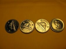 Set Of 4 Brilliant Uncirculated Canada 5 Cent Coins 1964 To 1967.