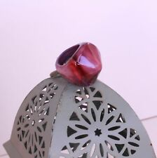 Bold Chunky Statement Ring Size 7 Smooth Plastic Marbleized Swirl Pink Purple