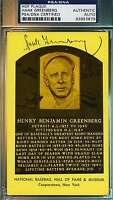 HANK GREENBERG SIGNED PSA/DNA GOLD HOF PLAQUE AUTHENTIC AUTOGRAPH