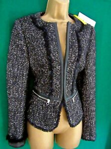 New KAREN MILLEN 10 14 16 Grey Black Collarless Tweed Blazer Fitted Coat Jacket