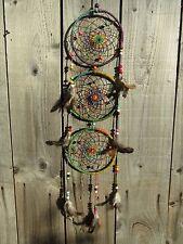 Hand Made Large Rainbow Hemp Dream Catcher Dreamcatcher Mobile Wall Hanging Long