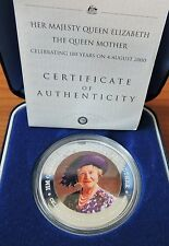 2000 COOK ISLANDS  **QUEEN MOTHER 100 YEARS**  99.9% SILVER COIN IN ORIGINAL BOX